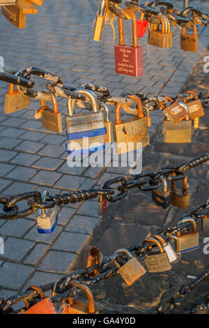Love Locks Riverside Walk River Mersey Liverpool UK - Stock Photo