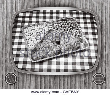 TV dinner tray vintage retro meal aluminum dish with surround - Stock Photo