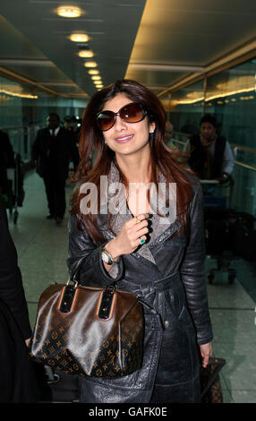 Shilpa Shetty Arrives At Heathrow Airport - London - Stock Photo