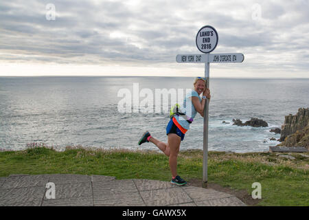 Lands End, Cornwall, UK. 5th July 2016. Former police firearms officer, Yvie Johnson,   who suffers from bipolar - Stock Photo