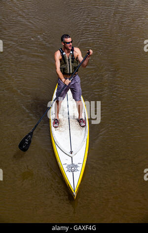 Stand Up Paddle Boarding On The River Ouse, Lewes, Sussex, UK - Stock Photo