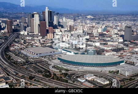 An aerial view of downtown Los Angeles, California, USA, with the vast Los Angeles Convention Center in the foreground. - Stock Photo