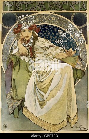 fine arts, Mucha, Alfons (1860 - 1939), poster, 'Princezna Hyacinia' (Princess Hyacinth), lithograph, 1911, - Stock Photo