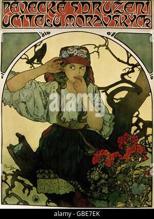 fine arts, Mucha, Alfons, (1860 - 1939), poster, 'Pevecke Sdruzeni Ucitelu Moravskyck', - Stock Photo