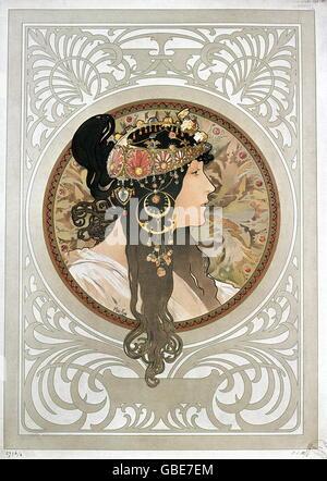 fine arts, Mucha, Alfons (1860 - 1939), poster, portrait of a brunette lady, 1897, - Stock Photo