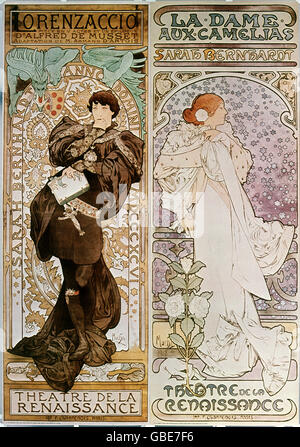 fine arts, Mucha, Alfons (1860 - 1939), poster, advertising posters for the Theatre de la Renaissance, Paris, left: - Stock Photo