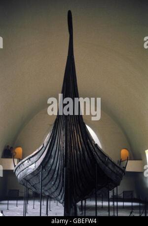 transport / transportation, navigation, vikings, Oseberg ship, 9th century, Viking ship museum, Bygdoy, Oslo, - Stock Photo