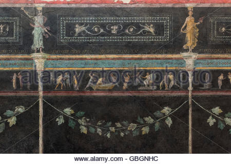 Rome. Italy. Detail of frieze (1st C BC) from the black room of the Casa della Farnesina aka Villa of the Farnesina. - Stockfoto