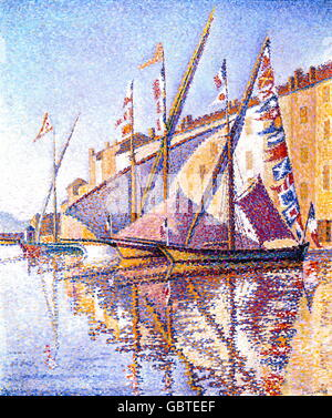 fine arts, Signac, Paul (1863 - 1935), painting, 'Sailing Boats in St. Tropez Harbour', oil on canvas, 46 x 56 cm, - Stock Photo