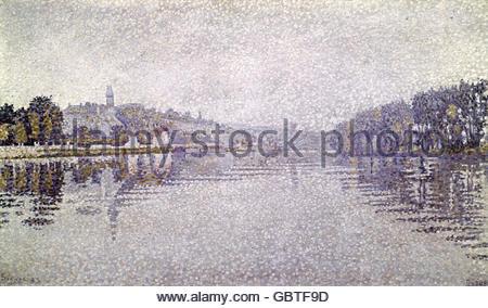 fine arts, Signac, Paul, (1863 - 1935), painting, 'Seine near Herblay', 1883, Jeu de Paume, Paris, Artist's Copyright - Stockfoto