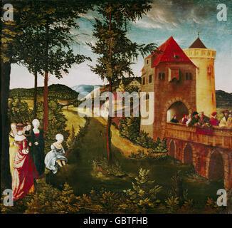 fine arts, Ostendorfer, Michael (1494 - 1559), painting, 'Bathsheba', oil on panel, City of Regensburg Museum, - Stock Photo