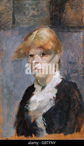 fine arts, Toulouse-Lautrec, Henri de (1864 - 1901), painting, 'Carmen la Rousse', 1885, Museum Albi, - Stock Photo
