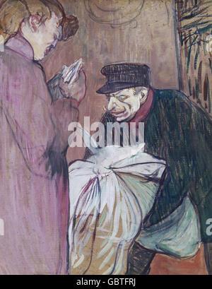 fine arts, Toulouse-Lautrec, Henri de (1864 - 1901), painting, 'Le Blanchisseur' (The Launder), 1894, Museum Albi, - Stock Photo