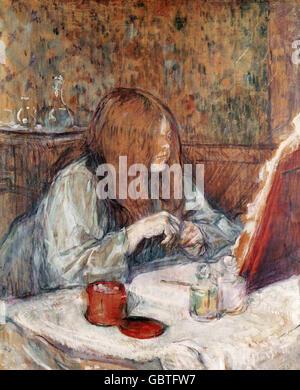 fine arts, Toulouse-Lautrec, Henri de (1864 - 1901), painting 'A la Toilette', 1898, Museum Albi, - Stock Photo