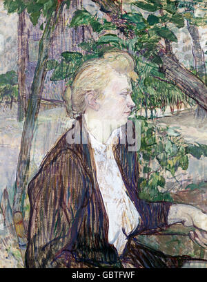 fine arts, Toulouse-Lautrec, Henri de (1864 - 1901), painting 'Femme assise' (Sitting Woman), National Gallery, - Stock Photo