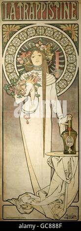 fine arts, Mucha, Alfons Maria, (24.8.1860 - 14.7.1939), poster for liqueur 'La Trappistine', ca. 1895, lithograph, - Stock Photo