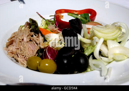 Spanish mixed salads include fresh lettuce, onions, tomatoes, olives, chicken or tuna, peppers, carrots and sometimes - Stock Photo