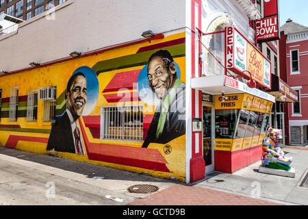 Ben 39 s chili bowl landmark diner restaurant in u street for African american mural