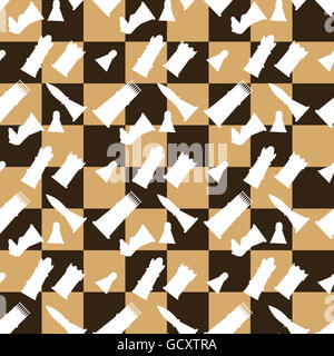 Seamless pattern chessboard and chess pieces. Game strategy and leisure, vector illustration - Stock Photo
