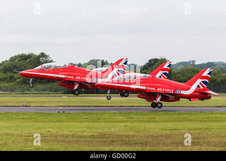 Section of the Red Arrows take off pictured at the 2016 Royal International Air Tattoo. - Stock Photo