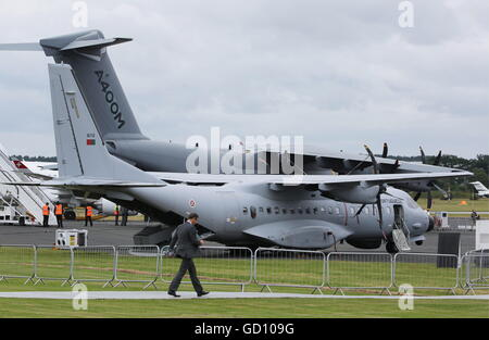 Farnborough, United Kingdom. 11th July, 2016. An Airbus A400M Atlas military transport aircraft on display at the - Stock Photo