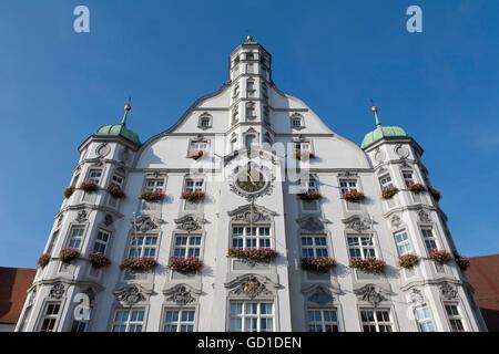 Town hall on the market place, Memmingen, Allgaeu, Bavaria - Stock Photo