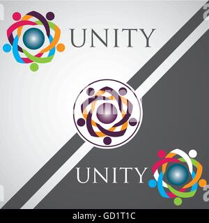 unity logo concept designed in a simple way so it can be use for multiple proposes like logo ,marks ,symbols or - Stock Photo