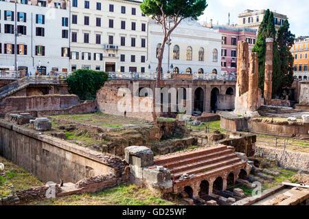 Ruins of Roman temples at Area Sacra di Largo di Torre Argentina, Rome, UNESCO World Heritage Site, Lazio, Italy, - Stock Photo