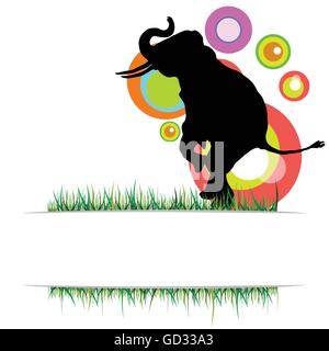 elephant in nature vector illustration on a color - Stock Photo