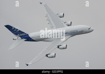Airbus A380 at Farnborough International Airshow - Stock Photo