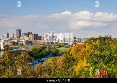 View of Downtown St Paul from the High Level Bridge - Stock Photo