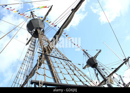 Rigging of the Nao Victoria, a replica of the Spanish carrack that made the first trip around world (1519-1522), - Stock Photo
