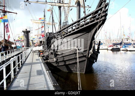 Replica of Nao Victoria, a Spanish carrack that made the first trip around world (1519-1522), led by explorer Ferdinand - Stock Photo