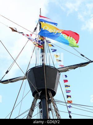 Crow's nest of Nao Victoria, a replica of the Spanish carrack that made the first trip around world (1519-1522). - Stock Photo