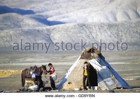 China Gobi desert nomad family - Stock Photo