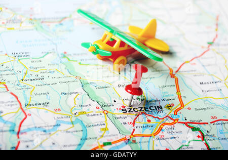 Close up of Szczecin Poland map with red pin Travel concept Stock