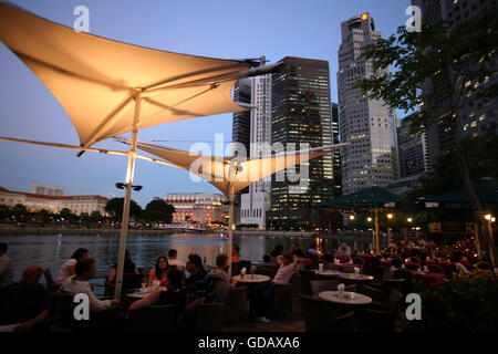 Asien, Suedost, Singapur, Insel, Staat, Stadt, City, Skyline, Zentrum, Boat Quay, Bankenviertel, Nacht, Singapore - Stock Photo