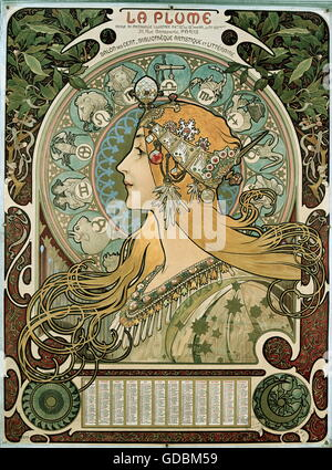 Bernhardt, Sarah, 22.10.1844 - 26.3.1923, French actress, portrait, coloured lithograph, by Alfons Mucha (1860  - Stock Photo