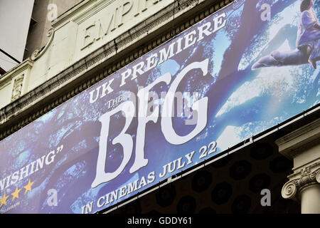 Leicester Square, London, UK. 15th July 2016. BFG Big Friendly Giant movie premiere preparations in Leicester Square. - Stock Photo
