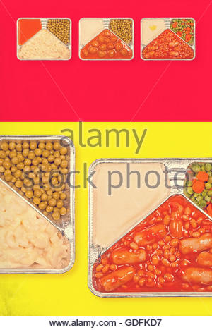 TV dinner tray vintage retro advert meal aluminium food dishes - Stock Photo