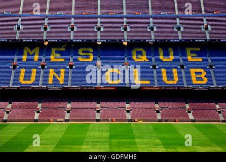 The Camp Nou, the football stadium of FC Barcelona. Barcelona city, Catalonia, Spain - Stock Photo