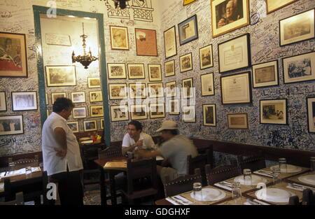 the Bar La Bodeguita del medio in the city of Havana on Cuba in the caribbean sea. - Stock Photo