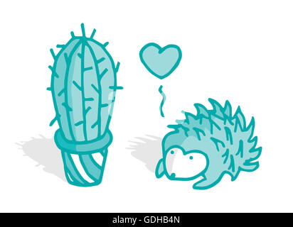 Cute hedgehog in love with a cactus - Stock Photo