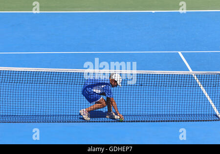 Kyiv, Ukraine. 15th July, 2016. Ball boy in action during BNP Paribas Davis Cup Europe/Africa Zone Group I game - Stock Photo