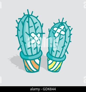 Cartoon illustration of two cactus hurt and patched up - Stock Photo