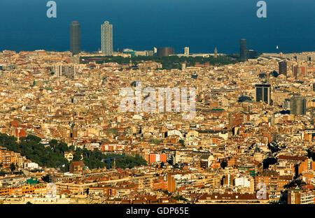 Barcelona: as seen from Collserola Park, Barcelona, spain - Stock Photo