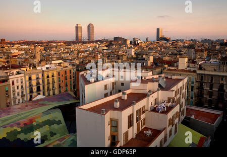 From left to right; Mapfre tower, Hotel Arts, Barcelona Biomedical Research Park building  and Mare Nostrum tower. - Stock Photo