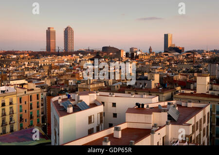From left to right; Mapfre tower, Hotel Arts, Barcelona Biomedical Research Park building  and Mare Nostrum,barcelona,spain - Stock Photo