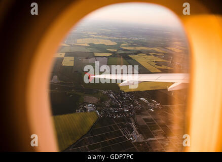 View from airplane enroute Helsinki-Berlin, Germany - Stock Photo