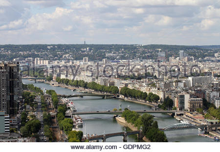 View of Paris Southwest from the Eiffel Tower over the Seine River with Pont Rouelle, Pont de Grenelle and Pont - Stock Photo